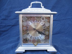 metallic mantel clock